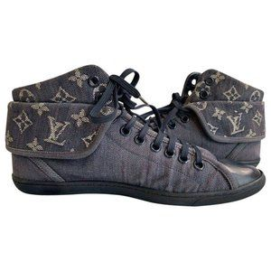 Authentic LOUIS VUITTON Denim High Top Sneakers